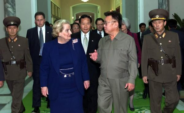 North Korean leader Kim Jong Il and Secretary of State Madeleine Albright met in Pyongyang on Oct. 23, 2000. Tong Kim (between Albright and Kim) served as the State Department interpreter.