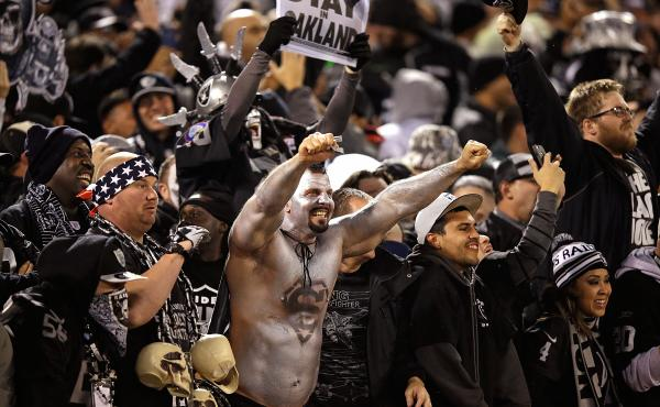 Oakland Raiders fans during the game against the Kansas City Chiefs at O.co Coliseum on Thursday in Oakland.