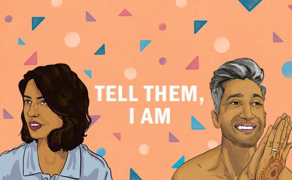 """Illustration of Misha Euceph, host of KPCC's """"Tell Them I Am,"""" and Tan France from """"Queer Eye."""""""