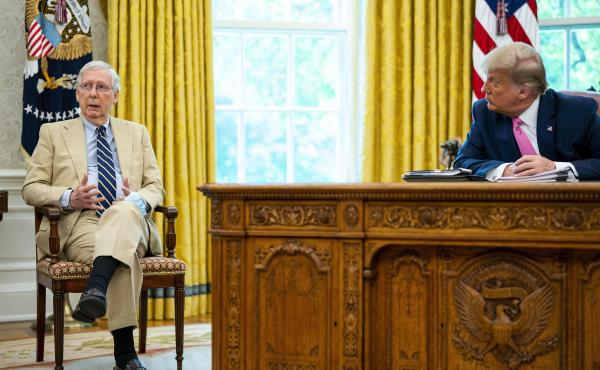 The divide between Republican Senate leader Mitch McConnell and former President Donald Trump, seen here in the Oval Office in July 2020, is a symptom of something that's been brewing since long before the Trump era.