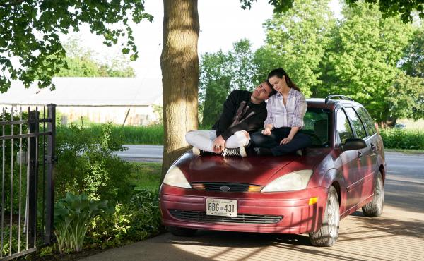 David (Dan Levy) and Stevie (Emily Hampshire) shared a driveway moment in the penultimate episode of Schitt's Creek.