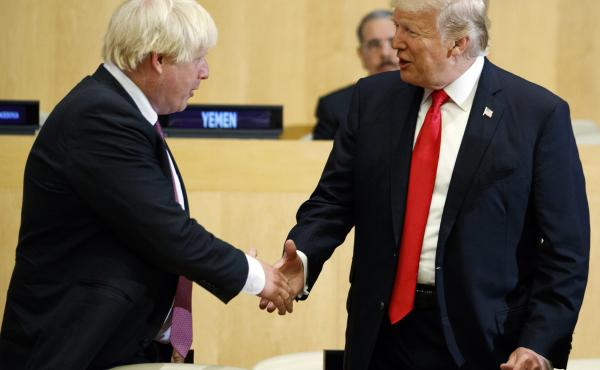 President Trump shakes hands with Boris Johnson during the U.N. General Assembly in 2017. The United Kingdom and the United States are about to be led by two remarkably similar figures.
