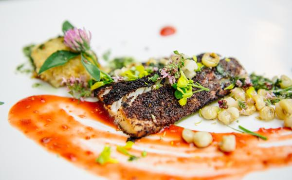 Sherman is still experimenting with the type of food he'll serve in the restaurant. Recently he made this walleye filet with sumac and maple sugar, a white bean and smoked walleye croquette and toasted hominy.