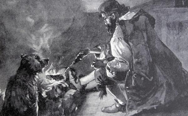 Illustration from a 19th-century edition of Robinson Crusoe, a novel by Daniel Defoe first published in 1719. It relates the story of Robinson Crusoe, stranded on an island for 28 years and his subsequent fight for survival. Out of desperation, he became