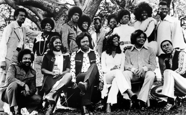 Members of the gospel group The Edwin Hawkins Singers pose for a portrait circa 1975.