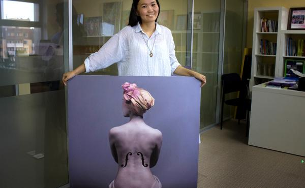Gerelee Odonchimed, vice director of Women for Change, modeled for this half-nude photo.