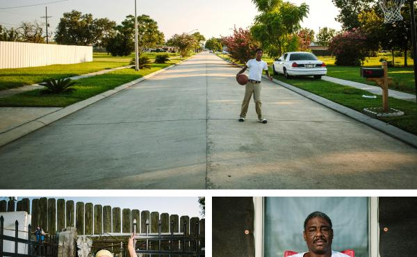 Ronnie Landry, 14, plays basketball in front of his home on Schnell Drive. He and his father, Wilbert Landry, bottom right, moved here from the 9th Ward of New Orleans in 2014. Noney Deffes, bottom left, is a longtime Schnell Drive resident who survived t