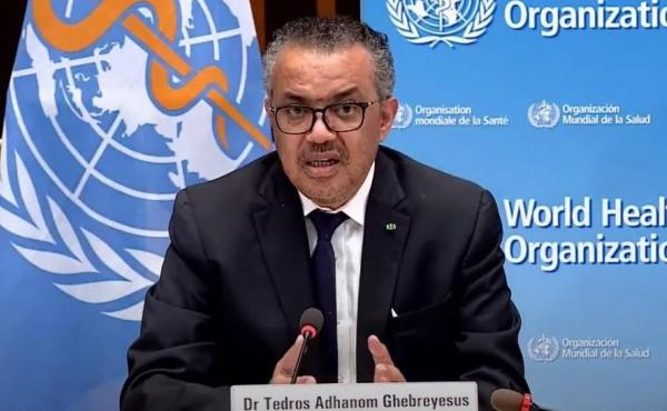 """""""At present, pathogens have greater power than WHO,"""" World Health Organization leader Tedros Adhanom Ghebreyesus said on Monday. """"They exploit our interconnectedness and expose our inequities and divisions."""" Tedros is seen speaking earlier this month in G"""