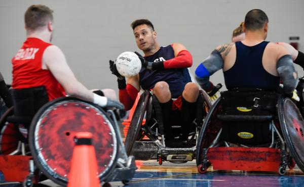 Joe Delagrave (c) is co-captain of the USA Wheelchair Rugby team. The squad was practicing at a recent training camp in Birmingham, Ala. at the U.S. Olympic and Paralympic Training site.