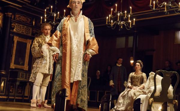 Mark Rylance (center) plays King Phillipe V in the new play Farinelli And The King. In this scene, opera star Iestyn Davies (left) plays the titular singer whose voice nurses the king back to health.