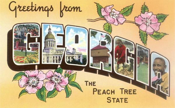 A vintage postcard from the Peach Tree State. Georgia isn't the biggest producer of the pink-orange fruit. So why are its peaches so iconic? The answer has a lot to do with slavery — its end and a need for the South to rebrand itself.