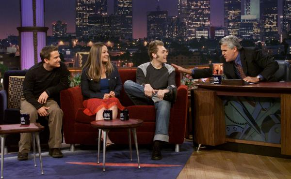 Left to right: Sean Watkins, Sara Watkins and Chris Thile chat with Jay Leno on The Tonight Show in June 2001.