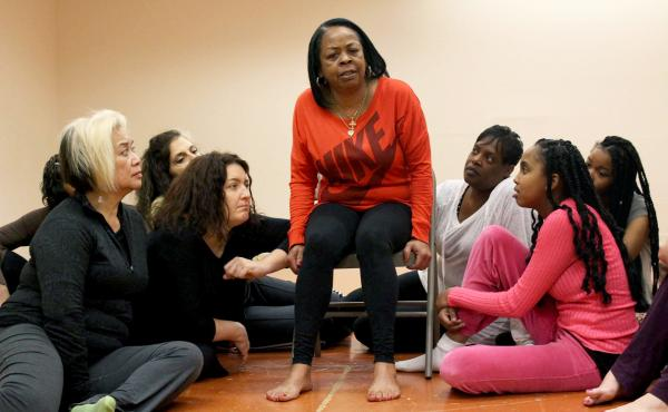 Cassandra Steptoe (center) rehearses a performance with fellow actresses as part of The Medea Project, in San Francisco. Steptoe wrote and performs an autobiographical monologue in the production about being HIV-positive.