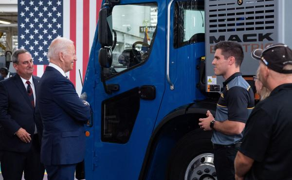 President Biden checks out an electric truck as he tours a Mack Trucks plant last week in Macungie, Pa.