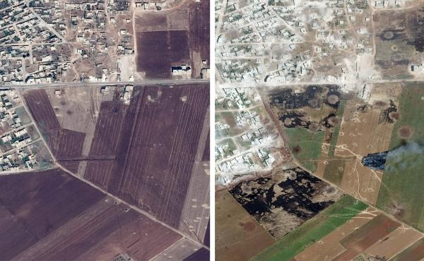 Satellite images released by Save the Children show an undisclosed area in Idlib province in July 2018 (left), and after apparent aerial bombardment in May 2019.