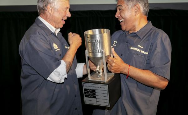 Rep. Fred Upton, R-Mich., and Rep. Tony Cárdenas, D-Calif., emerge victorious in the fourth Anheuser-Busch Brew Across America Congressional Brewing Competition in Washington, D.C.