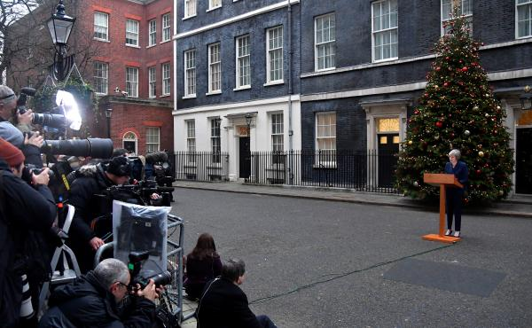 U.K. Prime Minister Theresa May faces a vote on her leadership Wednesday, as debate rages over how the U.K. should exit the European Union. She spoke about the vote to the media outside No. 10 Downing St. in London.