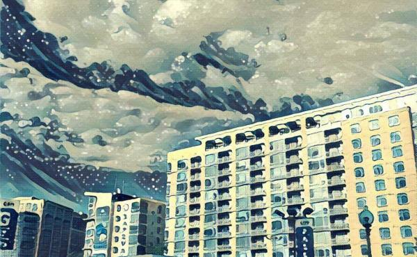 "A photo of apartment buildings near NPR headquarters in Washington, D.C., that was run through the Prisma app's ""wave"" filter."