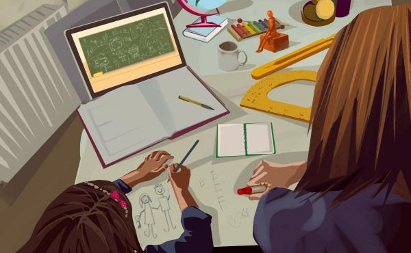 Illustration of mother helping her daughter with math during video call class with professor at home.
