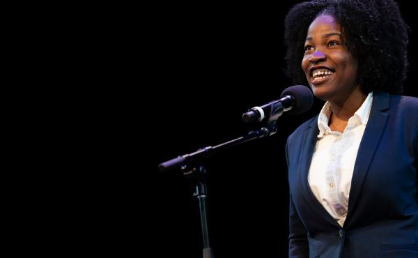 Mahlana Graham — champion from the U.S. Virgin Islands — recites at this year's Poetry Out Loud competition.