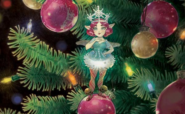 Illustrator Tony DiTerlizzi based The Broken Ornament's Christmas fairy Tinsel on his wife, Angela, who helped with the book.