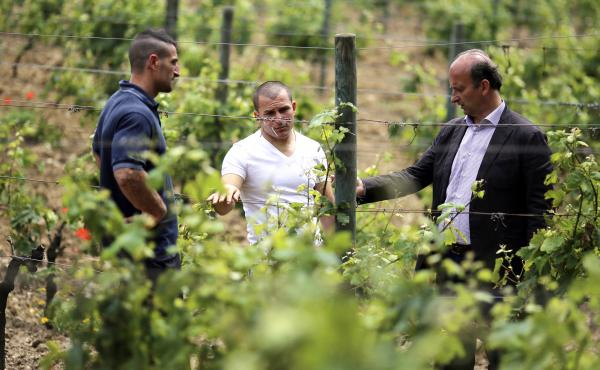 Marquise Lamberto Frescobaldi (right), of the winemaking dynasty, talks with prisoners Brian Baldissin (left) and Francesco Papa at his vineyard on Gorgona island in June 2013.