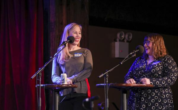 Contestants Kathryn Brower and Alaire Comyn appear on Ask Me Another at the Bell House in Brooklyn, New York.