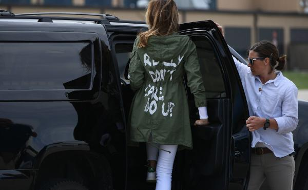 """First lady Melania Trump leaves Joint Base Andrews in Maryland wearing a jacket with the words """"I REALLY DON'T CARE. DO U?"""" after her visit Thursday with migrant children who are being detained at the U.S.-Mexico border."""