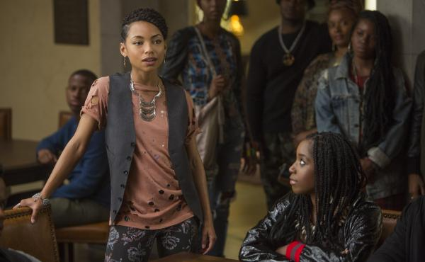 Actresses Logan Browning (left) and Ashley Blaine Featherson appear in a scene from the Netflix show Dear White People.