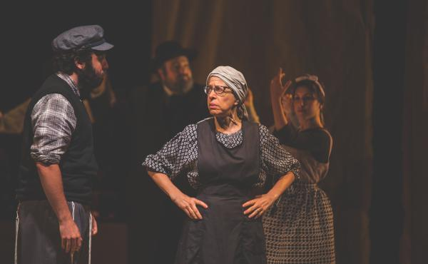 "Jackie Hoffman (right) plays Yente the matchmaker in the Yiddish adaptation of Fiddler. Hoffman grew up hearing her mother and grandmother speak Yiddish, and for years has been teaching little phrases to fellow cast members. ""I've got gentiles speaking Yi"