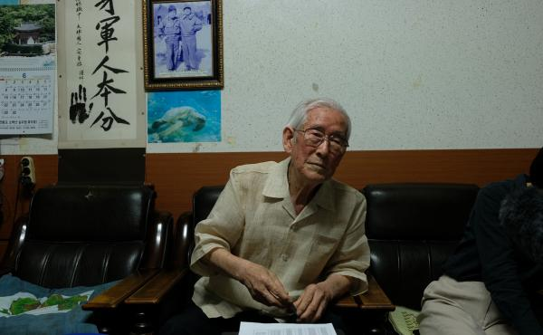 Park describes his experiences as a child soldier during an interview in his office in Yeongju.