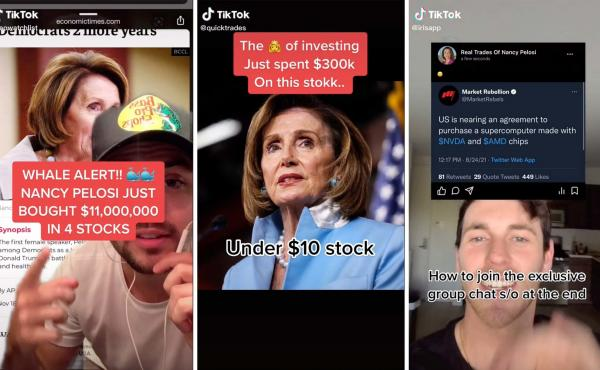 """A community of young investors on TikTok, including @ceowatchlist, @quicktrades and @irisapp, are using House Speaker Nancy Pelosi's stock trading disclosures as inspiration for where to invest themselves. One user called Pelosi the market's """"biggest whal"""