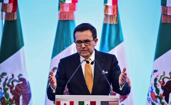 Mexican Economy Minister Ildefonso Guajardo speaks to reporters during the seventh round of NAFTA talks in Mexico City, on March 5. U.S. House Speaker Paul Ryan has said a deal needs to be completed this week, but fundamental differences remain among the