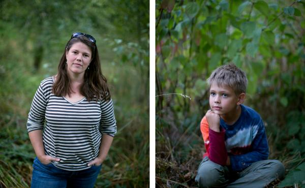 Laura Randall, pictured at Mill Pond Park in Portland, gives her son, Matthew Randall, 7, a lot of freedom to explore on his own.