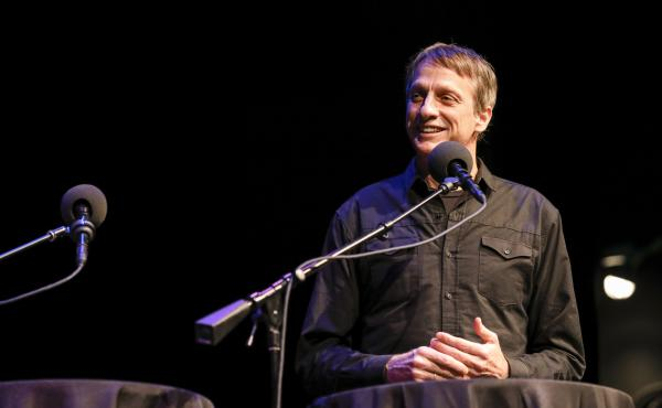 Tony Hawk appears on Ask Me Another at the Balboa Theatre in San Diego, California.