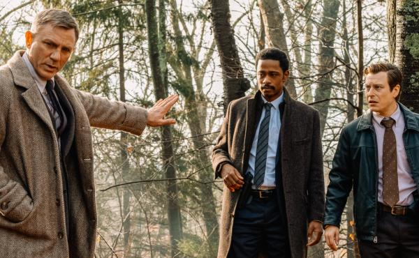 L to R: Detective Blanc (Daniel Craig), Lieutenant Elliott (LaKieth Stanfield) and Trooper Wagner (Noah Segan) are on the case in Rian Johnson's Knives Out.