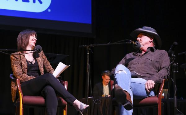 Host Ophira Eisenberg chats with Trace Adkins on Ask Me Another at TPAC's Polk Theater in Nashville, Tennessee.