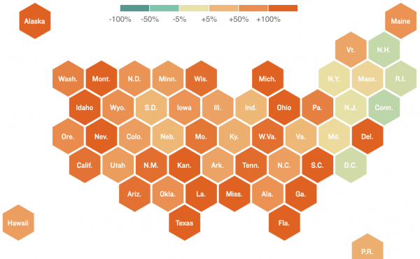 Map showing change in U.S. COVID-19 cases (as of July 3)