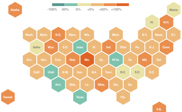 Map: Change in U.S. COVID-19 cases (as of July 26)