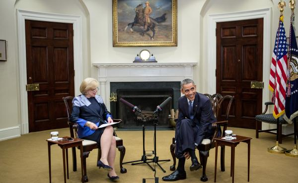 NPR's Nina Totenberg interviews President Obama in the Roosevelt Room of the White House on March 17.