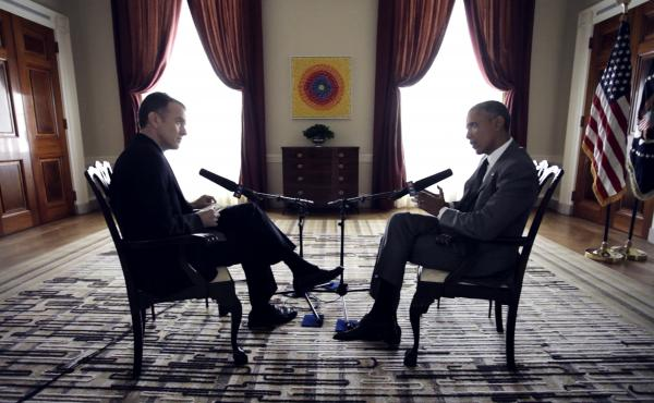 NPR Morning Edition host Steve Inskeep interviews President Obama on April 6 at the White House.