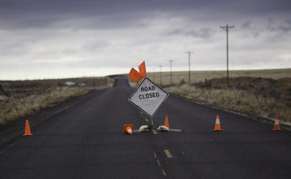 A sign is placed on a closed road to the Malheur National Wildlife Refuge near Burns, Ore., on Jan. 29, during the armed occupation of the refuge.