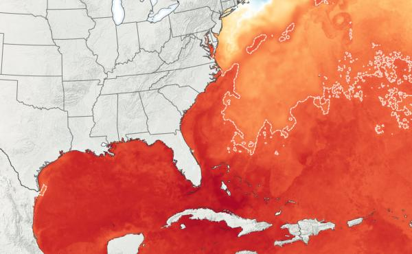 This graphic, provided by NASA, shows abnormally warm ocean temperatures. Forecasters believe this will continue to fuel an already above-average Atlantic hurricane season.