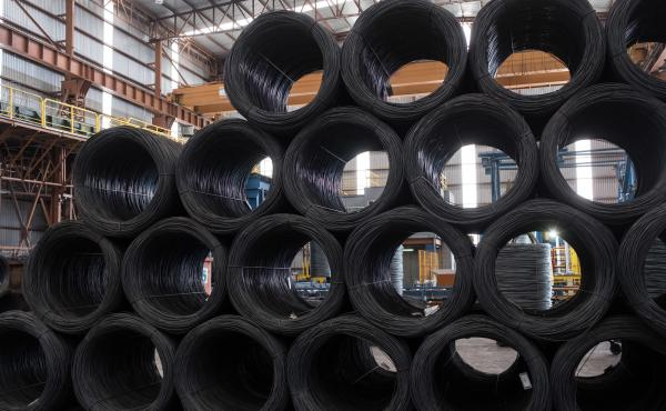 Coils of steel wire sit stacked in the shipping area of the Grupo Acerero SA steel processing facility in San Luis Potosi, Mexico, on March 6.