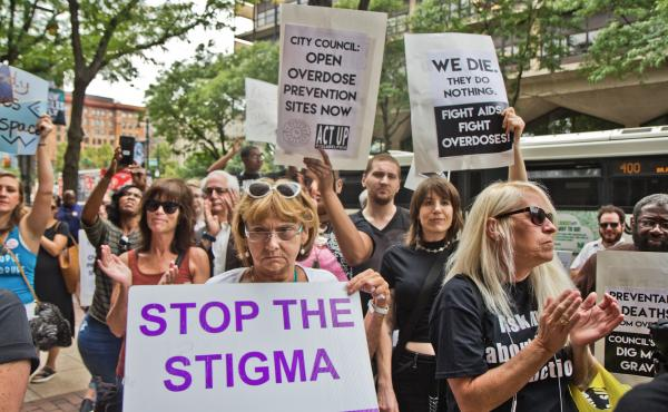 "Supporters of safe injection sites in Philadelphia rallied outside this week's federal hearing. The judge's ultimate ruling will determine if the proposed ""Safehouse"" facility to prevent deaths from opioid overdose would violate the federal Controlled Sub"