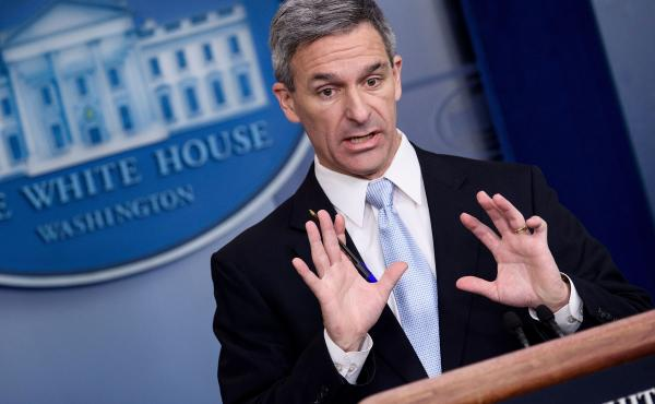 Ken Cuccinelli, the acting director of U.S. Citizenship and Immigration Services, speaks during a briefing at the White House on Monday. Trump administration officials announced new rules that aim to deny permanent residency to migrants who may need to us