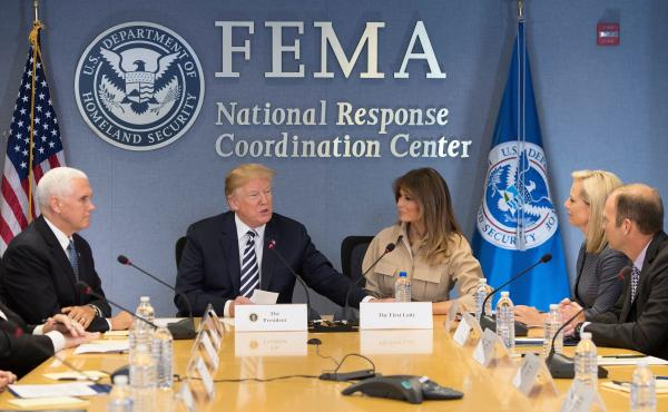 President Trump, Vice President Pence and first lady Melania Trump visit the Federal Emergency Management Agency headquarters in Washington, D.C., on June 6. Secretary of Homeland Security Kirstjen Nielsen and FEMA Administrator Brock Long are seated at r