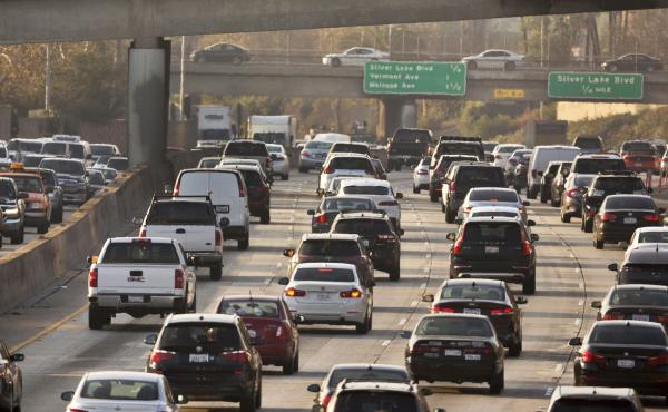 Traffic on the Hollywood Freeway in Los Angeles in 2018. The Trump administration is weakening auto pollution standards, rolling back a key Obama-era policy that sought to curb climate change.