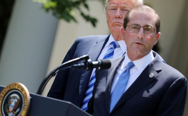 Health and Human Services Secretary Alex Azar talked Friday about the administration's plans to lower drug prices as President Trump looked on in the White House Rose Garden.