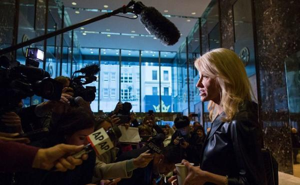 Kellyanne Conway, senior advisor to President-elect Donald Trump, speaks to the media at Trump Tower on Monday.